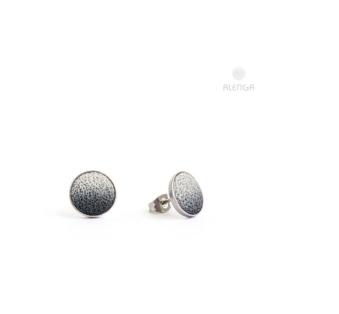 halványszürke-fekete bedugós fülbevaló
