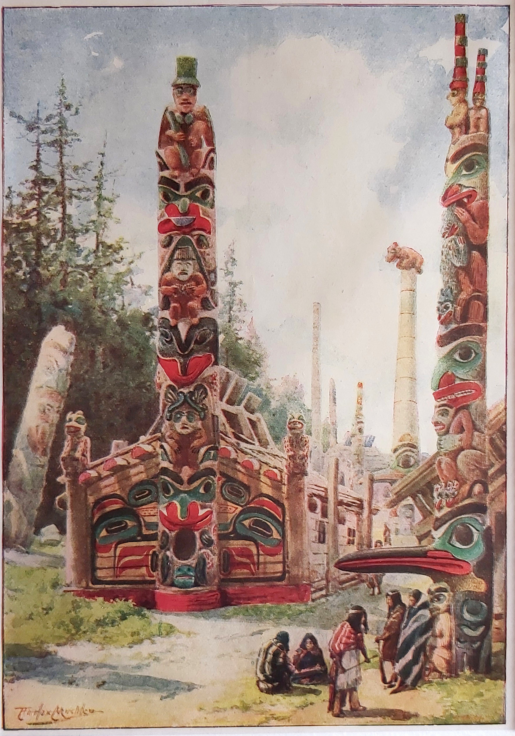 antik nyomat indián totem