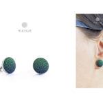 zöld-sötétkék bedugós fülbevaló
