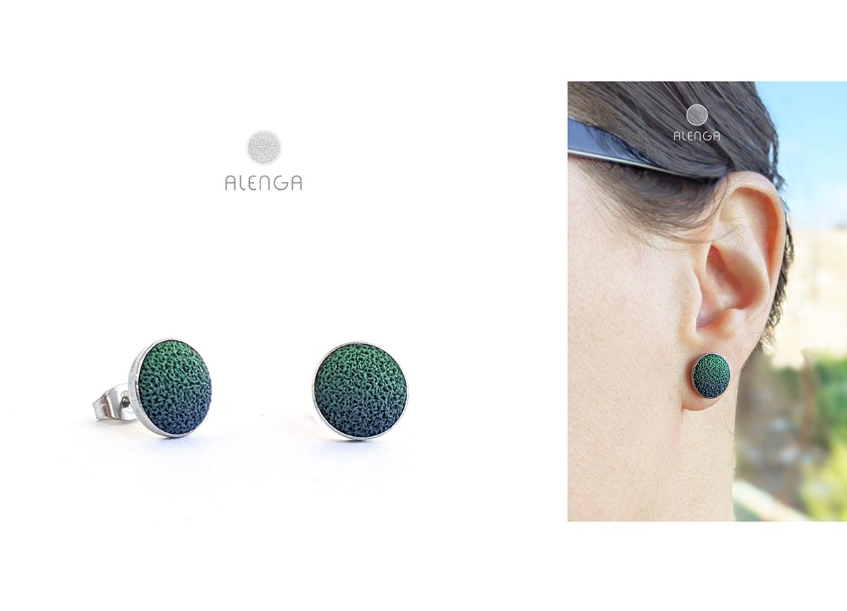 zöld-sötétkék bedugós fülibevaló
