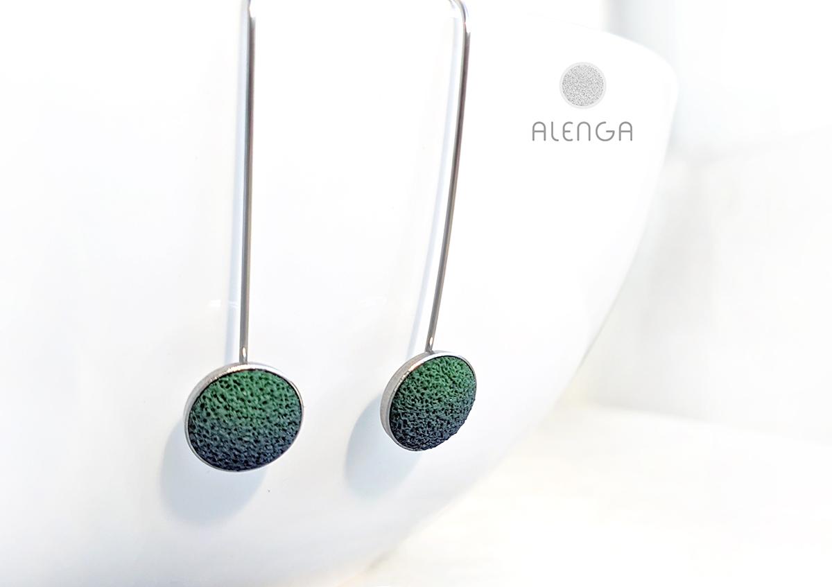 zöld-sötétkék lógós fülbevaló