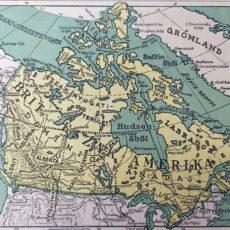 Kanada antik térkép nyomat 1927 zöld-sárga