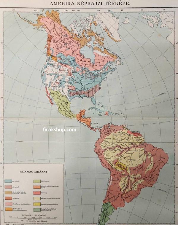 amerika néprajzi térképe eredeti nyomat 1911