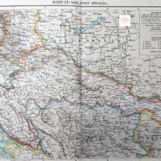 horvátország térkép eredeti nyomat 1895