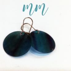 újrahasznosított műanyag fülbevaló kör kék