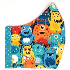 szörnyike kék pöttyös textil maszk
