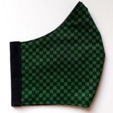 zöld kockás textil maszk