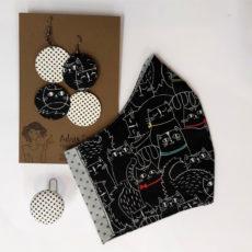 Cicás ajándékcsomag, maszk + felemás fülbevaló + gyűrű, szürke