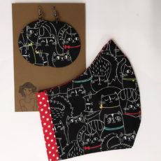 cicás ajándékcsomag - maszk + nagy fülbevaló, piros