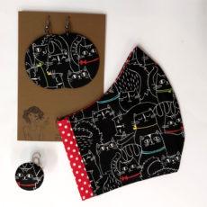 cicás ajándékcsomag - maszk + nagy fülbevaló + gyűrű, piros