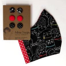cicás ajándékcsomag - maszk + hármas fülbevaló, piros