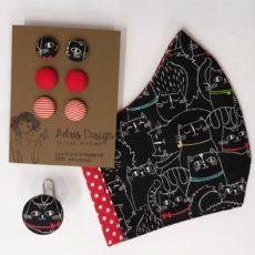 ajándékcsomag, maszk + hármas fülbevaló +gyűrű, piros