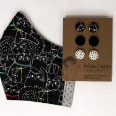 Péntek 13., fekete macska szett - cicás ajándékcsomag, maszk + hármas fülbevaló, szürke belső