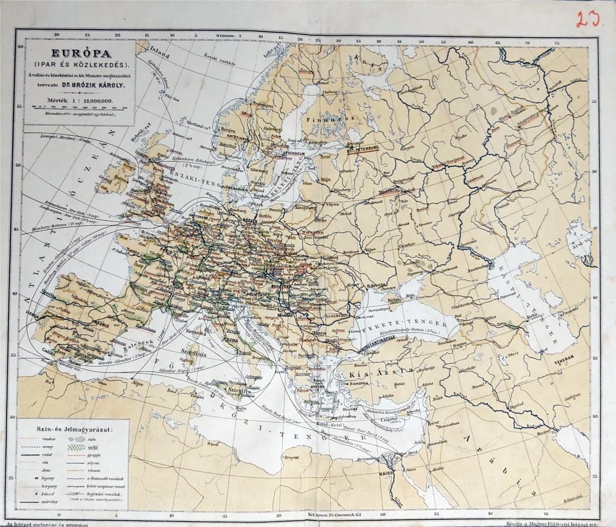 Európa közlekedése térkép eredeti nyomat 1900