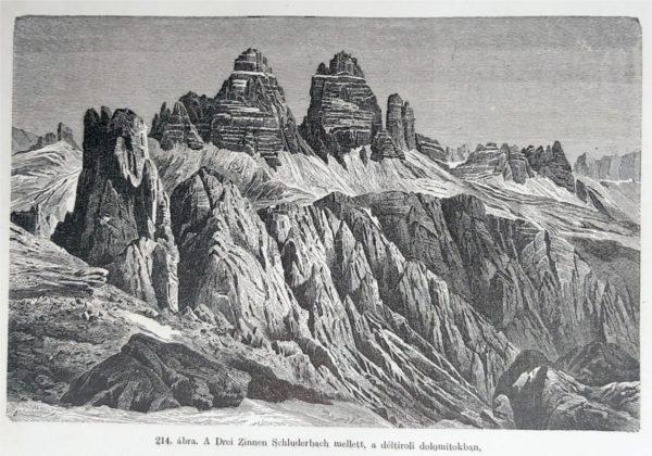 Dél-tiroli hegység eredeti nyomat 1904