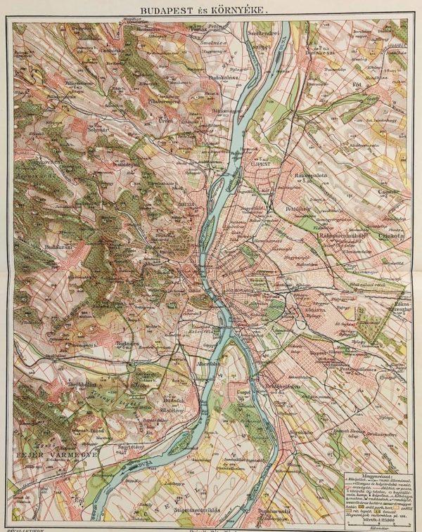 Budapest környéke térkép eredeti nyomat