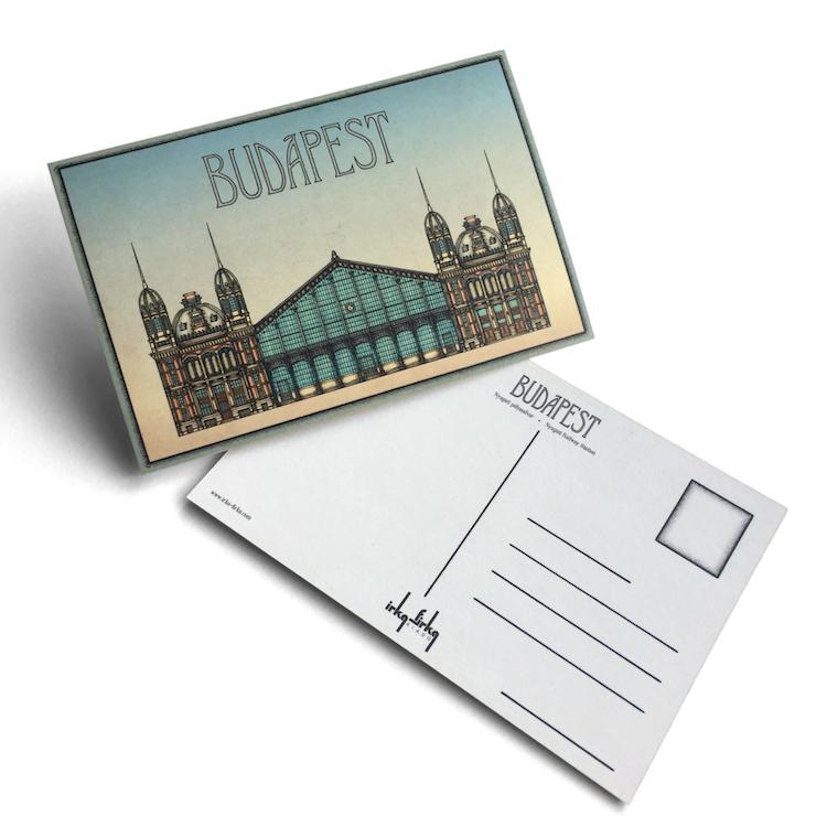 Budapest tematikájú képeslap Nyugati pályaudvar