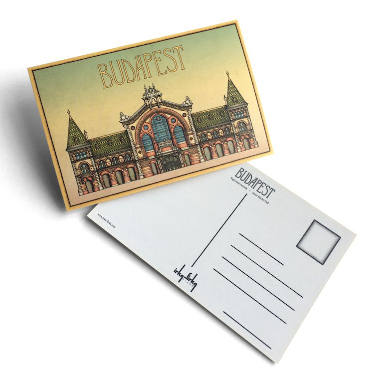 Budapest tematikájú képeslap Nagycsarnok