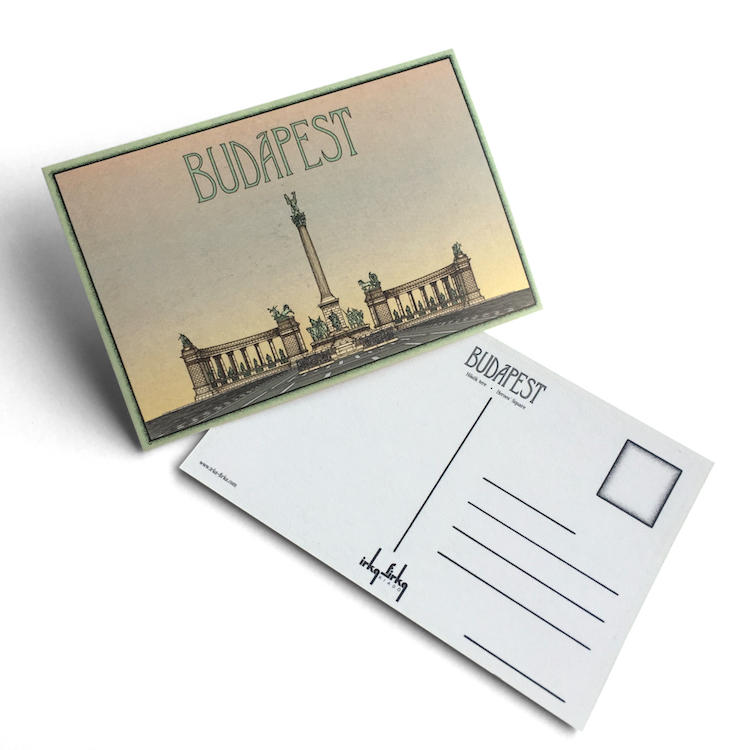 Budapest tematikájú képeslap Hősök tere