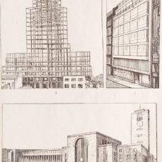 Modern építészet eredeti régi nyomat