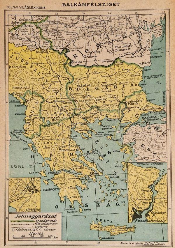 Balkán-félsziget eredeti régi nyomat