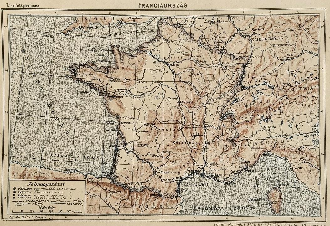 Franciaország eredeti régi nyomat