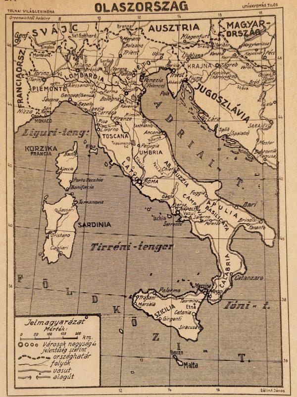 Olaszország eredeti régi nyomat