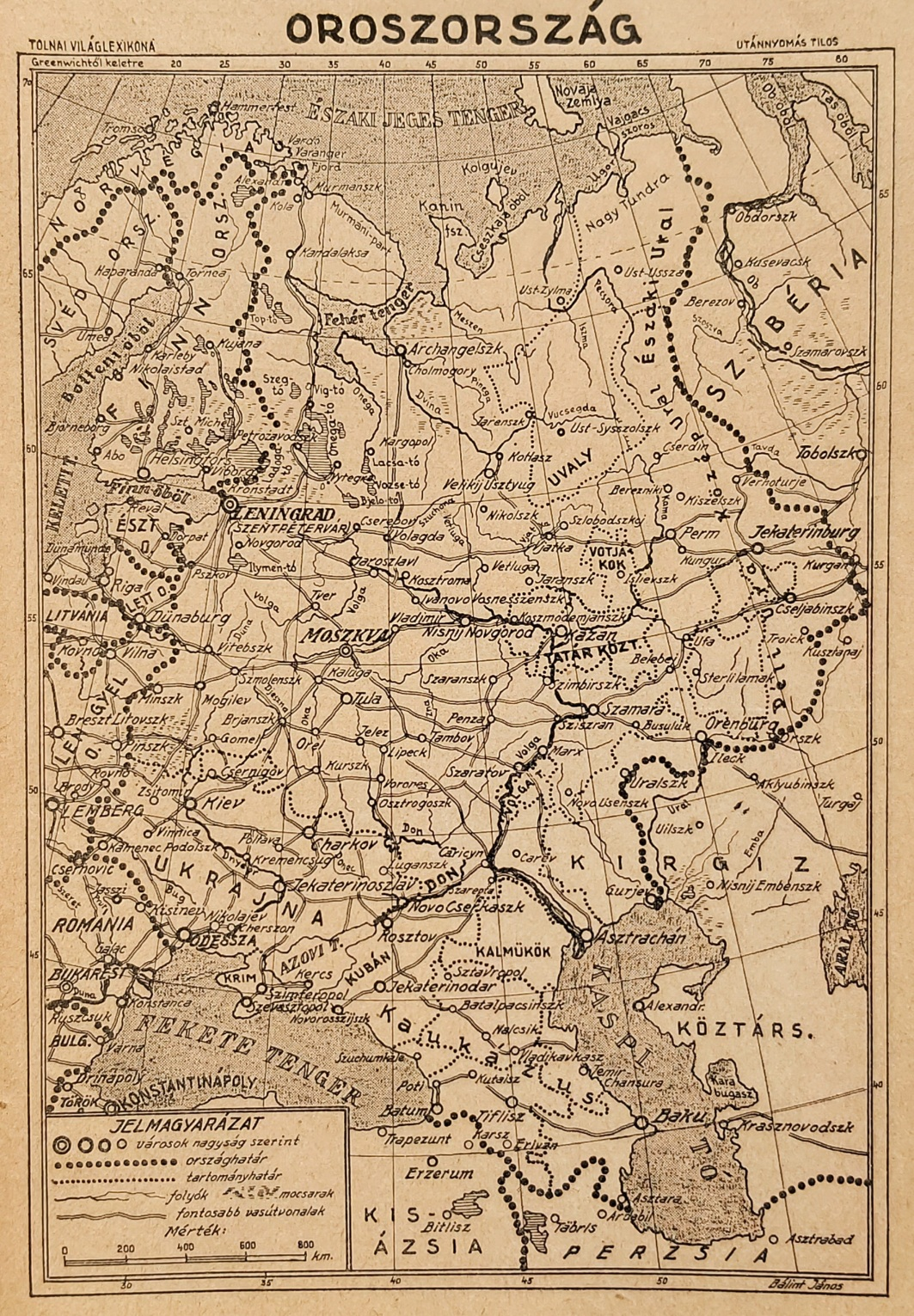 Oroszország eredeti régi nyomat