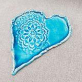 Türkiz kék kerámia szív alátét