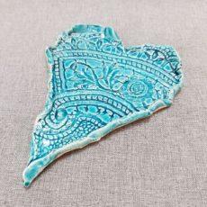 Türkiz kék kerámia szív alátét kisebb