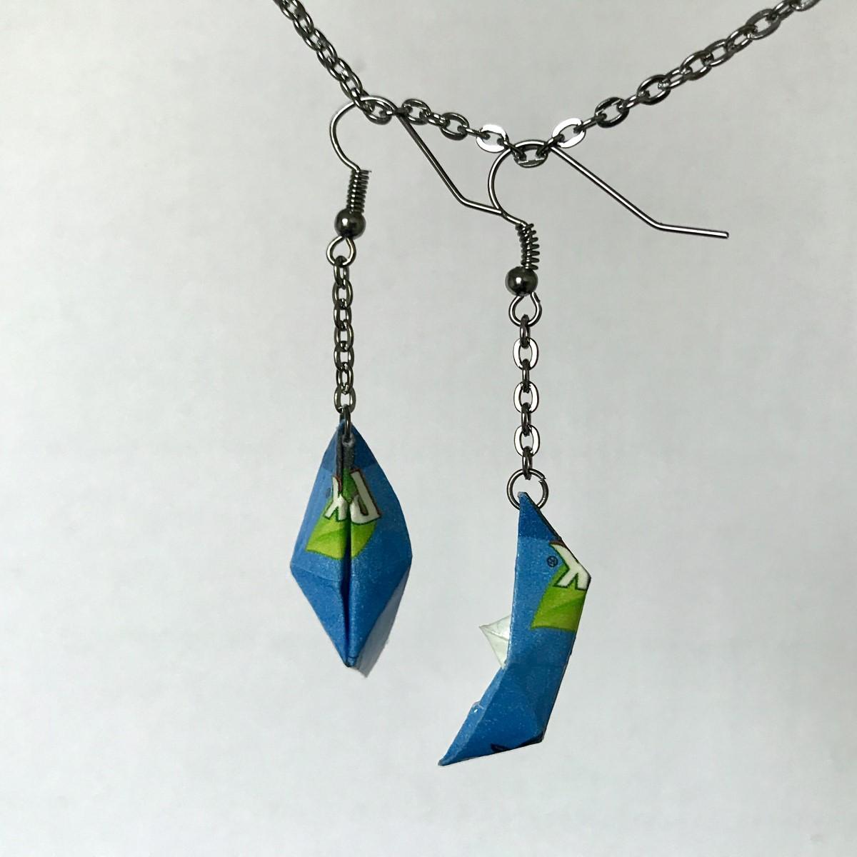 Csónak origami fülbevaló kék