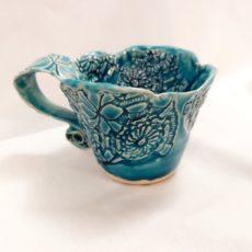 Türkiz kék kerámia cappuccino bögre