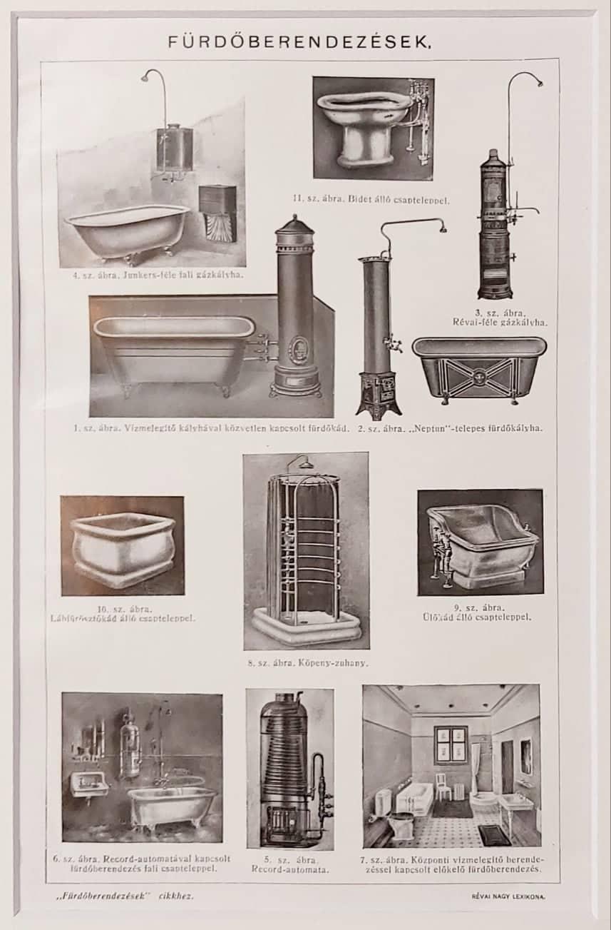 Fürdőszoba eredeti régi nyomat