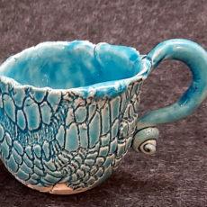 Türkiz kék kerámia füles csésze