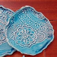 Türkiz kék kerámia kerek alátét