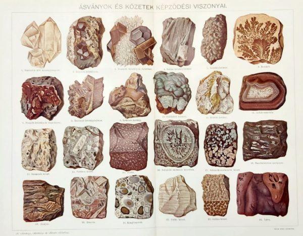 ásványok és kőzetek eredeti régi nyomat