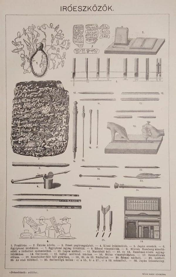 Íróeszközök eredeti régi nyomat