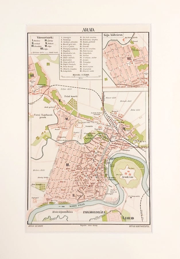 arad térkép eredeti régi nyomat