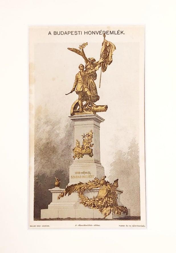 budapest honvéd szobor eredeti régi nyomat