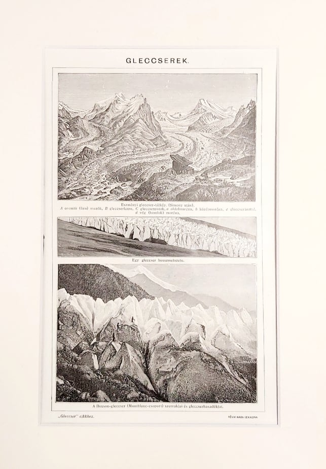 gleccserek eredeti régi nyomat