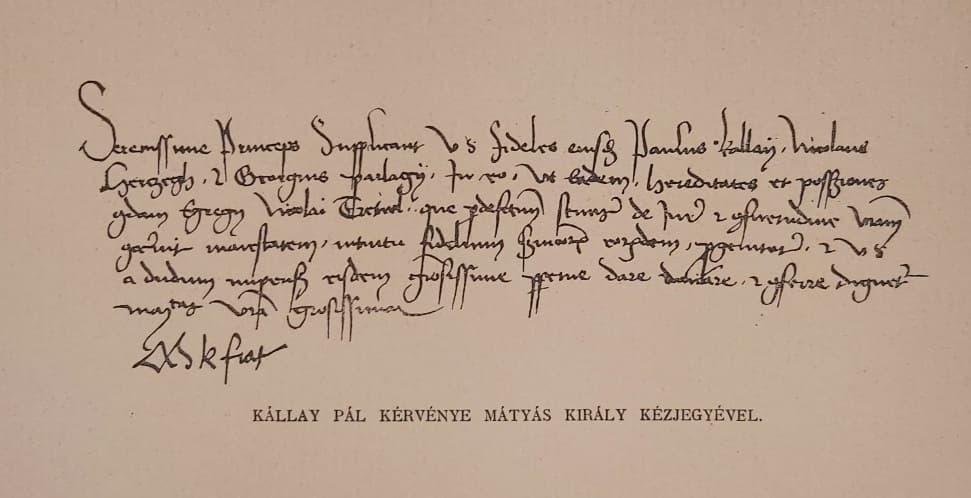 Mátyás király kézjegye eredeti régi nyomat