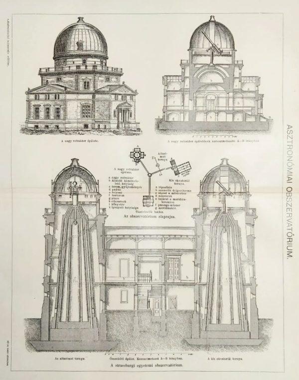 obszervatórium Strasbourg eredeti régi nyomat