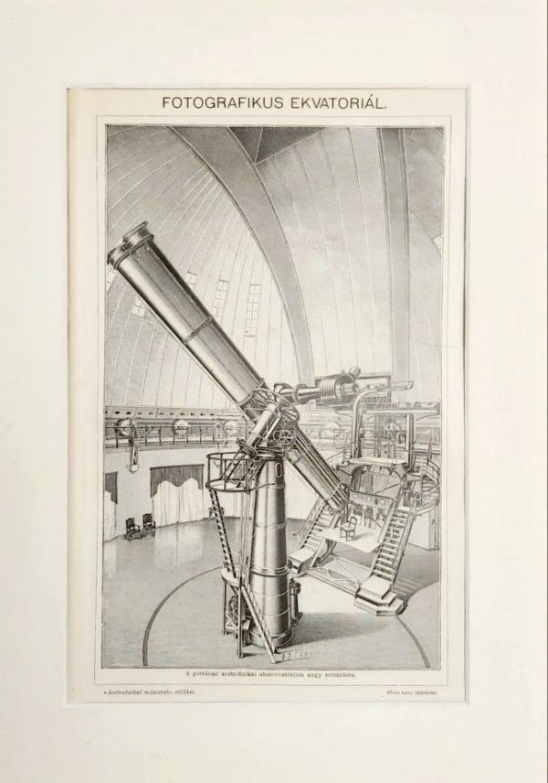 távcső ekvatoriál Potsdam eredeti régi nyomat