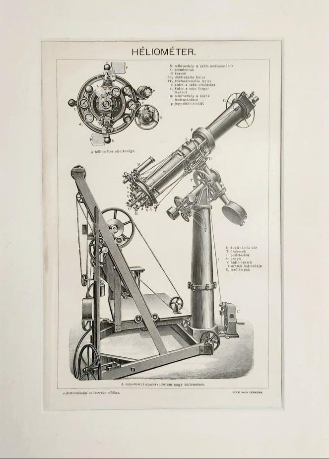 távcső heliométer eredeti régi nyomat