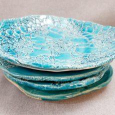 Türkiz kék kerámia tál