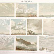Felhő eredeti antik nyomat A3