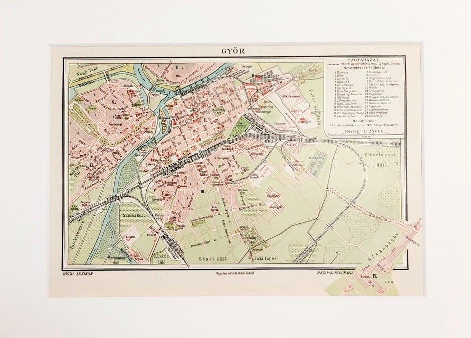 Győr térkép eredeti régi nyomat