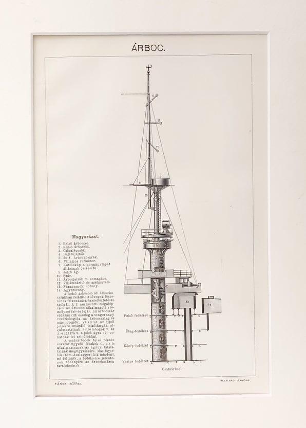 Hajó árbóc eredeti antik nyomat