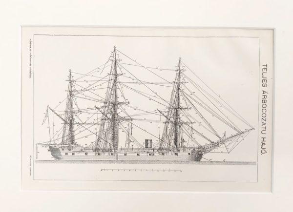 Vitorlás hajó árbóc eredeti antik nyomat