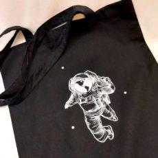 Űrhajós fekete vászon táska totebag